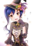 bangs blue_hair commentary_request earrings floral_print gloves hair_between_eyes hair_ornament hairclip hand_up hat highres jewelry long_hair looking_at_viewer love_live! love_live!_school_idol_festival love_live!_school_idol_project open_mouth rin5325 ring side_ponytail simple_background smile sonoda_umi witch_hat yellow_eyes
