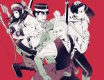 1girl 3boys absurdres ainu ainu_clothes arisaka asirpa bandana bolt_action boots bow_(weapon) carrying_over_shoulder cloak clothes_around_waist earrings facial_hair facial_scar feet_out_of_frame goatee golden_kamuy greyscale gun hair_slicked_back hair_strand hand_on_own_head haori hat highres holding holding_bow_(weapon) holding_stick holding_weapon hoop_earrings jacket jacket_around_waist japanese_clothes jewelry long_hair long_sleeves looking_away military military_hat military_uniform monochrome multiple_boys nose_scar ogata_hyakunosuke open_mouth pants red_background rifle running scar scar_on_cheek scarf shaved_head shiraishi_yoshitake short_hair sideburns simple_background sling stick sugimoto_saichi sweat uniform very_short_hair vest weapon yuu_(isis7796)