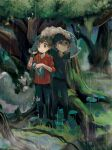 2boys :< black_pants black_shirt black_wristband blush bo9_(bo9_nc) buttons closed_mouth commentary_request dubwool fur-trimmed_jacket fur_trim gen_8_pokemon grass highres holding hop_(pokemon) jacket leaf looking_up male_focus multiple_boys outdoors pants pokemon pokemon_(creature) pokemon_(game) pokemon_swsh rain red_shirt shirt short_hair standing torn_clothes torn_pants tree victor_(pokemon) wet yellow_eyes