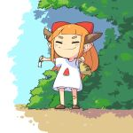 1girl alternate_costume bandaid bandaid_on_knee bangs blunt_bangs bow brown_footwear bush closed_eyes contemporary day english_commentary food_print full_body highres holding horn_bow horns ibuki_suika long_hair mobcap orange_hair outdoors pointy_ears purple_bow red_bow shirt shoes shorts smile snake solo t-shirt thick_eyebrows touhou tree tsuchinoko watermelon_print white_shirt white_shorts