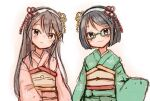 2girls black_eyes black_hair brown_eyes commentary_request cowboy_shot glasses green-framed_eyewear green_kimono hairband haruna_(kantai_collection) head_tilt japanese_clothes kantai_collection kimono kirishima_(kantai_collection) long_hair looking_at_viewer multiple_girls pink_kimono short_hair simple_background white_background white_hairband wss_(nicoseiga19993411) younger