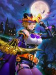 alice_garnet_nakata alternate_costume arrow_(projectile) bat bike_shorts boots bow_(weapon) castle corset crossbow green_eyes halloween halloween_costume hat highres holding holding_weapon jack-o'-lantern looking_at_viewer official_art pumpkin snk solo the_king_of_fighters the_king_of_fighters_all-stars the_king_of_fighters_xiv thigh-highs thigh_strap weapon