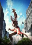 alien blue_eyes fighting_stance figure giant highres ito_nobuhiko lamppost new_york no_humans open_hands photo_(medium) photo_background photoshop_(medium) ultra_series ultraman:_the_ultimate_hero ultraman_powered watermark
