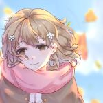 1girl brown_eyes brown_hair coat day dolores_nz_(nanzhi) flower hair_flower hair_ornament hanasaku_iroha highres looking_at_viewer matsumae_ohana outdoors pink_scarf portrait scarf short_hair smile solo wind