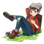 1boy bangs beanie bo9_(bo9_nc) brown_eyes brown_footwear brown_hair cable_knit closed_mouth commentary_request crossed_legs denim gen_4_pokemon grass grey_headwear hat highres holding jeans light_blush male_focus pants plaid poke_ball poke_ball_(basic) pokemon pokemon_(game) pokemon_swsh red_shirt rotom rotom_phone shirt shoes sitting sleeves_rolled_up smile solo suitcase swept_bangs torn_clothes torn_jeans torn_pants victor_(pokemon)