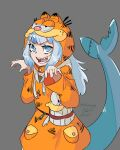 1girl absurdres artist_name bachunawa blue_eyes blue_hair cosplay dated english_commentary fish_tail garfield garfield_(character) garfield_(character)_(cosplay) gawr_gura grey_background highres hololive hololive_english open_hands pun shark_tail sharp_teeth solo tail teeth virtual_youtuber