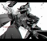 1boy 1girl blood blood_splatter blood_spray bloodborne cagefreepotato cape clenched_hand cloak coat gloves greyscale hands hat hat_feather highres hunter_(bloodborne) lady_maria_of_the_astral_clocktower long_hair mask monochrome mouth_mask ponytail simple_background tricorne