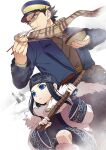 1girl 2boys ainu ainu_clothes asirpa bandana belt black_hair blue_eyes blue_jacket boots bowl brown_belt buried cape chopsticks closed_mouth commentary_request eating facial_scar food fur_cape fur_trim golden_kamuy hat holding holding_bowl holding_chopsticks holding_stick imperial_japanese_army jacket japanese_clothes kepi legs_up long_hair long_sleeves looking_away military military_hat military_uniform multiple_boys noodles onnomono outdoors scar scarf shiraishi_yoshitake short_hair snow stick sugimoto_saichi uniform upper_body wide_sleeves yellow_eyes yellow_scarf