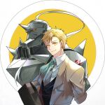1boy alphonse_elric armor arms_at_sides av_(abusive) backlighting beige_coat beige_neckwear black_outline black_vest blonde_hair carrying carrying_under_arm circle closed_mouth coat collared_shirt cropped_torso dress_shirt facing_viewer flamel_symbol formal fullmetal_alchemist helmet jitome looking_afar male_focus necktie open_clothes open_coat outline red_eyes shaded_face shiny shirt shoulder_spikes simple_background smile spiked_helmet spikes suitcase two-tone_background upper_body vest white_background white_shirt yellow_background yellow_eyes