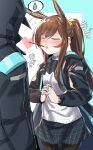 1girl 1other absurdres amiya_(arknights) animal_ears arknights bangs black_jacket black_legwear blue_jacket blush brown_hair closed_eyes commentary cowboy_shot doctor_(arknights) eyebrows_visible_through_hair flying_sweatdrops food food_in_mouth highres hood hooded_jacket jacket long_hair long_ponytail miniskirt moto_toshi mouth_hold open_clothes open_jacket pantyhose pocky pocky_day ponytail rabbit_ears shirt skirt spoken_sweatdrop sweatdrop white_shirt