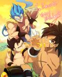 3boys abs bara bare_chest bare_shoulders belly blue_hair broly_(dragon_ball_super) character_request check_character chest chest_scar dragon_ball dragon_ball_super dragon_ball_super_broly dragon_ball_z eating fat fat_man fusion gogeta hand_on_hip happy_birthday honey long_hair male_focus multiple_boys muscle nipples ommmyoh scar shirtless sleeveless smirk spiky_hair super_saiyan super_saiyan_blue vegetto