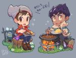 2boys bangs beanie blush bo9_(bo9_nc) brown_eyes brown_footwear brown_hair cable_knit campfire collared_shirt commentary_request cup curry dark_skin dark_skinned_male denim flower food fur-trimmed_jacket fur_trim grey_headwear hat holding holding_plate holding_spoon hop_(pokemon) jacket jeans liquid male_focus mug multiple_boys mushroom open_mouth pants plate pokemon pokemon_(game) pokemon_swsh pot red_shirt rice shirt shoes sitting sleeves_rolled_up smile sparkle spoon stirring swept_bangs teeth torn_clothes torn_jeans torn_pants translation_request tree_stump victor_(pokemon) yellow_eyes