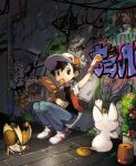 1boy against_wall alley arm_up badge bag bangs baseball_cap black_hair black_shirt bo9_(bo9_nc) bread commentary_request flower_pot food gen_1_pokemon graffiti hat highres jacket knees_together looking_to_the_side male_focus meowth mouth_hold pants paper_bag pidgey pigeon-toed pokemon pokemon_(game) pokemon_rgby red_(pokemon) shadow shirt shoes short_sleeves squatting