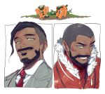 2boys black_hair business_suit clenched_teeth closed_mouth collared_shirt cufant expedition_uniform facial_hair formal fur-trimmed_jacket fur_trim gen_8_pokemon green_eyes grey_jacket grey_vest jacket kmtk male_focus multiple_boys necktie one_eye_closed orange_jacket peony_(pokemon) pokemon pokemon_(creature) pokemon_(game) pokemon_swsh red_neckwear rose_(pokemon) shirt short_hair suit teeth undercut very_short_hair vest white_shirt