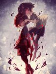 2others :d androgynous artist_name blood blood_on_face bloody_clothes bloody_hands brown_hair chara_(undertale) copyright_name empty_eyes eyebrows_visible_through_hair floating frisk_(undertale) hair_between_eyes hand_on_another's_cheek hand_on_another's_face heart heart_necklace holding holding_knife holding_weapon jewelry kasuga_haruhi knife leg_up mixed-language_commentary multiple_others necklace one_eye_closed open_mouth red_eyes shirt short_hair shorts signature smile spoilers striped striped_shirt undertale weapon