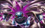 commentary_request energy fangs gen_5_pokemon glowing glowing_eyes hydreigon kaosu_(kaosu0905) looking_at_viewer no_humans open_mouth pokemon pokemon_(creature) red_eyes solo tongue