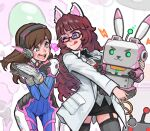2girls ;p animal_ears aqua_nails armor bangs black_legwear black_neckwear black_skirt blue_eyes blunt_bangs blush bodysuit borrowed_character breasts brown_hair cat_ears coat collared_shirt commentary commission cowboy_shot d.va_(overwatch) english_commentary facepaint facial_mark fake_animal_ears frilled_legwear garter_straps gatling_gun glasses gloves hands_together hands_up headphones heart holding id_card labcoat licking_lips long_hair long_sleeves looking_at_another mecha meka_(overwatch) miniskirt multiple_girls nail_polish necktie one_eye_closed open_mouth original outline overwatch pencil_skirt pilot_suit rabbit_ears ribbed_bodysuit robot rowen_montera shirt shoulder_armor skin_tight skindentation skirt smile star_(symbol) star_in_eye swept_bangs symbol_in_eye thick_eyebrows thigh-highs tongue tongue_out upper_teeth very_long_hair whisker_markings white_coat white_gloves white_outline