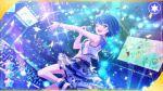 blue_hair blush dress green_eyes kiritani_haruka project_sekai short_hair