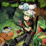 1boy against_tree backpack bag bangs beanie black_hair bo9_(bo9_nc) brendan_(pokemon) brown_eyes commentary_request dated day fingerless_gloves fingernails gen_3_pokemon gloves grass green_bag grovyle hat holding male_focus on_head outdoors pokeblock pokeblock_case pokemon pokemon_(creature) pokemon_(game) pokemon_emerald pokemon_on_head pokemon_rse shirt short_sleeves signature sitting swablu trapinch tree white_headwear