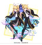 1boy 1girl :d black_footwear black_neckwear black_pants black_skirt blonde_hair blue_eyes brother_and_sister character_name clouds copyright_name hair_ribbon headphones highres holding_hands interlocked_fingers kagamine_len kagamine_rin lem_tea necktie open_mouth pants ribbon short_hair siblings simple_background single_thighhigh skirt smile standing thigh-highs twins vocaloid white_background wide_sleeves