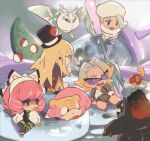 2boys 2girls asymmetrical_legwear avery_(pokemon) black-framed_eyewear black_headwear blonde_hair boots brown_jacket chibi coalossal commentary fork frosmoth fur_jacket galarian_form galarian_slowpoke gen_2_pokemon gen_8_pokemon glasses gordie_(pokemon) gym_leader hat holding holding_fork jacket klara_(pokemon) long_hair melony_(pokemon) mikripkm mini_hat multicolored_hair multiple_boys multiple_girls pink_hair pink_lips poke_ball poke_ball_(basic) pokemon pokemon_(creature) pokemon_(game) pokemon_swsh purple_eyeshadow scarf shoes shorts shuckle sitting sunglasses sweater thigh-highs two-tone_hair white_footwear white_headwear white_jacket white_scarf white_sweater
