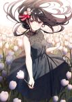 1girl ahoge black_dress black_hair black_ribbon breasts dress earrings eyebrows_visible_through_hair field floating_hair floral_print flower flower_field hair_flower hair_ornament hair_ribbon highres holding holding_flower jewelry koh_rd long_hair looking_at_viewer nail_polish original pale_skin pink_eyes pink_nails red_ribbon ribbon sidelocks sleeveless sleeveless_dress small_breasts smile standing