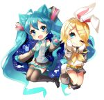 2girls :3 animal_ears aqua_eyes aqua_hair aqua_neckwear bangs bare_shoulders black_legwear black_skirt black_sleeves blonde_hair bow bunny_paws bunny_tail cat_ears cat_tail chibi collar commentary detached_sleeves fish full_body gloves grey_collar grey_shirt grey_shorts hair_bow hair_ornament hairclip hands_on_own_cheeks hands_on_own_face hatsune_miku kagamine_rin leg_warmers legs_up long_hair looking_at_viewer matatabi_dango miniskirt multiple_girls neckerchief necktie night night_sky one_eye_closed open_mouth paw_gloves paws pleated_skirt rabbit_ears sailor_collar school_uniform shirt short_hair short_shorts shorts shoulder_tattoo skirt sky sleeveless sleeveless_shirt smile swept_bangs tail tattoo thigh-highs twintails very_long_hair vocaloid white_bow white_shirt yellow_neckwear zettai_ryouiki