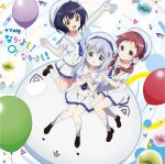 3girls album_cover balloon black_hair blue_hair blue_neckwear buttons chestnut_mouth closed_mouth cover eyebrows_visible_through_hair fang gochuumon_wa_usagi_desu_ka? hair_ornament hand_up hands_clasped hands_on_another's_shoulders highres hokkana jouga_maya kafuu_chino knees_together marble multiple_girls natsu_megumi official_art open_mouth outstretched_arm own_hands_together redhead school_uniform simple_background smile tippy_(gochiusa) white_legwear x_hair_ornament yellow_eyes