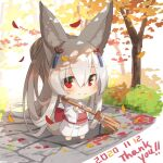 1girl animal_ear_fluff animal_ears autumn_leaves bamboo_broom bangs barefoot blush broom chibi closed_mouth commentary_request dated day eyebrows_visible_through_hair fox_ears fox_girl fox_tail full_body grey_hair hair_between_eyes hair_ornament holding holding_broom japanese_clothes kimono long_hair long_sleeves obi original outdoors patches ponytail red_eyes sash smile solo standing tail thank_you tree very_long_hair white_background white_kimono wide_sleeves yuuji_(yukimimi)