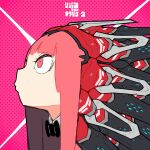 1girl album_cover bow bowtie collar constricted_pupils cover eiken3kyuboy eyebrows_visible_through_hair face headgear highres hime_cut long_hair mechanical mechanical_parts original pink_eyes pink_hair portrait profile solo tsurime
