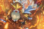 brown_fur commentary_request entei fangs fire gen_2_pokemon highres legendary_pokemon looking_at_viewer no_humans open_mouth paws pokemon pokemon_(creature) rainbow_wing_(pokemon) red_eyes shiny solo supearibu toes tongue