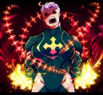 1boy alternate_eye_color alternate_hair_color bara black_bodysuit black_sclera bodysuit bulge chest clothing_cutout covered_abs covered_navel facial_hair fighting_stance fire glowing glowing_eyes halo highres lisuchi male_focus muscle red_eyes short_hair solo stubble thigh_cutout thighs tokyo_houkago_summoners upper_body white_hair zabaniya_(tokyo_houkago_summoners)