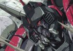 1980s_(style) aircraft airplane battle blitzwing bumblebee_(film) debris decepticon fighter_jet jet looking_at_viewer marble-v mask mecha military military_vehicle red_eyes retro_artstyle transformers transformers_(live_action) wings