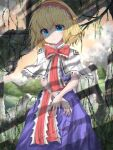 1girl alice_margatroid blonde_hair blue_dress blue_eyes broken_glass capelet clouds commentary_request cowboy_shot crossed_arms day dress expressionless glass hair_between_eyes hairband head_tilt kayon_(touzoku) lolita_hairband looking_at_viewer mountain outdoors plant puppet_rings red_neckwear red_sky ruins sash shaded_face shadow short_hair sky solo standing touhou tree_branch vines white_capelet
