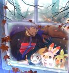 1boy champion_uniform charizard claws commentary_request dark_skin dark_skinned_male facial_hair gen_1_pokemon gen_8_pokemon glowing glowing_eyes grookey korean_commentary leaf leon_(pokemon) long_hair male_focus mikripkm open_mouth paw_print pokemon pokemon_(creature) pokemon_(game) pokemon_swsh purple_hair red_eyes scorbunny shirt short_sleeves sobble starter_pokemon_trio teeth tongue window yellow_eyes