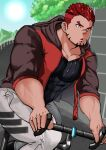 1boy :o absurdres akashi_(live_a_hero) bara bicycle black_shirt brown_hoodie chest facial_hair feet_out_of_frame goatee gradient_hair ground_vehicle highres hood hoodie live_a_hero male_focus multicolored_hair muscle orange_hoodie outdoors pants red_eyes redhead riding road_bicycle rukering shirt short_hair sideburns simple_background sleeves_rolled_up solo thick_eyebrows thick_thighs thighs tight tight_pants undercut