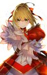 1girl aestus_estus ahoge artist_name bangs blonde_hair braid dress epaulettes eyebrows_visible_through_hair fate/extra fate_(series) hair_ribbon highres holding holding_sword holding_weapon mika_pikazo nero_claudius_(fate) nero_claudius_(fate)_(all) red_dress red_ribbon ribbon sidelocks signature solo sword upper_body weapon