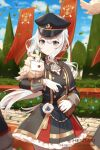 1girl animal animal_on_arm artist_name bangs bird black_dress black_headwear blue_eyes blue_flower blurry blurry_background book bow character_request closed_mouth commentary day depth_of_field dragalia_lost dress english_commentary eyebrows_visible_through_hair flower frilled_dress frills gloves grey_bow hair_between_eyes hat hentaki highres holding holding_book long_hair low_ponytail outdoors owl pantyhose peaked_cap pleated_dress ponytail solo_focus standing striped striped_bow tree very_long_hair watermark web_address white_gloves white_hair white_legwear