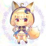 1girl ahoge animal_ear_fluff animal_ears black_footwear black_headwear blonde_hair blush boots capelet chibi closed_mouth commentary_request double_fox_shadow_puppet ears_through_headwear flower_knight_girl fox_ears fox_girl fox_shadow_puppet fox_tail frilled_capelet frills full_body hair_through_headwear hat hood hood_up hooded_capelet kitsune_no_botan_(flower_knight_girl) kouu_hiyoyo long_hair long_sleeves low_twintails mini_hat mini_top_hat multiple_tails puffy_long_sleeves puffy_sleeves purple_capelet red_eyes skirt smile socks solo standing standing_on_one_leg tail tilted_headwear top_hat twintails two_tails very_long_hair white_background white_skirt yellow_legwear