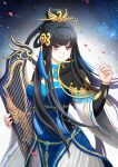 1girl black_hair blue_dress braid chinese_clothes dress highres instrument jewelry long_hair mu_tian_ming solo thunderbolt_fantasy violet_eyes xunling