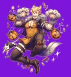 1boy absurdres animal_costume animal_ears bangs bara blonde_hair blush brown_pants bulge candy chest cleavage_cutout clothing_cutout covered_abs food full_body granblue_fantasy green_eyes halloween halloween_costume highres jack-o'-lantern long_shirt male_focus muscle oneirio orange_shirt pants shirt shoes short_hair solo tail thick_thighs thighs vane_(granblue_fantasy) wolf_boy wolf_costume wolf_ears wolf_paws wolf_tail