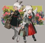 1girl 1other :d androgynous animal_ears arm_at_side bag bangs black_dress blue_flower blunt_bangs brooch brown_bag capelet clenched_hand closed_mouth collared_dress collared_shirt commentary_request curled_horns dark_skin dress earrings floral_print flower flower_request full_body goat_ears goat_horns goat_legs goat_tail green_eyes grey_background grey_capelet hand_up holding holding_bag horns jewelry leather_bag light_blush long_hair long_sleeves looking_at_viewer nose open_mouth orange_flower original outstretched_arm pink_flower plant print_capelet print_dress puffy_long_sleeves puffy_sleeves purple_flower red_neckwear red_skirt sasumata_jirou satyr sheep_ears sheep_girl sheep_horns shirt short_hair sidelocks skirt smile standing traditional_clothes twitter_username white_hair white_shirt wing_collar yellow_background