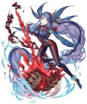1girl absurdly_long_hair anklet aqua_eyes bodysuit book bracelet breasts crystal earrings eyebrows_visible_through_hair fins frown full_body jewelry ji_no large_breasts long_hair looking_at_viewer ningyo_hime_(sinoalice) official_art purple_hair sad shiny shiny_clothes sinoalice skin_tight smoke solo transparent_background very_long_hair water