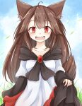 1girl ahoge animal_ears brooch brown_hair collarbone commentary_request dress fang grass imaizumi_kagerou jewelry long_hair looking_at_viewer neko_mata outdoors red_eyes skin_fang skirt_hold solo tail touhou wolf_ears wolf_tail