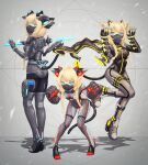 3girls absurdres animal_ear_fluff animal_ears blonde_hair blue_eyes bodysuit braid breasts cat_ears cat_tail commentary_request eyebrows_visible_through_hair full_body grey_background gun handgun highres holster huge_filesize impossible_bodysuit impossible_clothes knife looking_at_viewer mecha_musume multiple_girls ninja_mask original oversized_forearms oversized_limbs paw_pose ribbon shadow shiny shiny_clothes small_breasts tail tail_ribbon thigh_holster weapon yumikoyama49