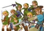 4boys artist_name bangs beige_pants beige_shirt black_eyes blonde_hair blue_shirt boots bow_(weapon) brown_footwear brown_gloves copyright_request earrings fairy fingerless_gloves from_behind from_side gloves green_eyes green_headwear green_shirt hat highres holding holding_bow_(weapon) holding_sword holding_weapon hylian_shield iva_(sena0119) jewelry link long_sleeves looking_at_viewer male_focus master_sword multiple_boys multiple_persona navi pointy_ears sheikah_slate shield shirt short_hair short_ponytail short_sleeves simple_background smile sword the_legend_of_zelda the_legend_of_zelda:_breath_of_the_wild the_legend_of_zelda:_ocarina_of_time the_legend_of_zelda:_the_wind_waker the_legend_of_zelda:_twilight_princess toon_link triforce_print tunic weapon white_background