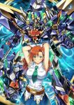 armpits arms_behind_head breasts cliana_rimskaya forte_gigas garimpeiro glowing glowing_eyes green_eyes green_neckwear highres holding holding_lance holding_polearm holding_weapon lance large_breasts looking_at_viewer mecha medium_hair mini_necktie open_hand orange_hair planet polearm science_fiction space super_robot_wars super_robot_wars_destiny weapon yellow_eyes