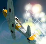 aircraft airplane clouds fighter_jet flare flying highres jet lens_flare matsuda_juukou military military_vehicle no_humans propeller senyoku_no_sigrdrifa sky solo vehicle_focus