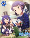 blush character_name idolmaster_million_live!_theater_days makabe_mizuki mochizuki_anna purple_hair shirt short_hair yellow_eyes