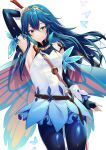 1girl alternate_costume ameno_(a_meno0) arm_up armpits bangs bare_shoulders blue_butterfly blue_eyes blue_gloves blue_legwear butterfly_wings dress elbow_gloves fingerless_gloves fire_emblem fire_emblem_heroes gloves hair_between_eyes highres holding holding_sword holding_weapon long_hair lucina_(fire_emblem) pantyhose parted_lips standing strap sword symbol-shaped_pupils tiara weapon white_background white_dress wings